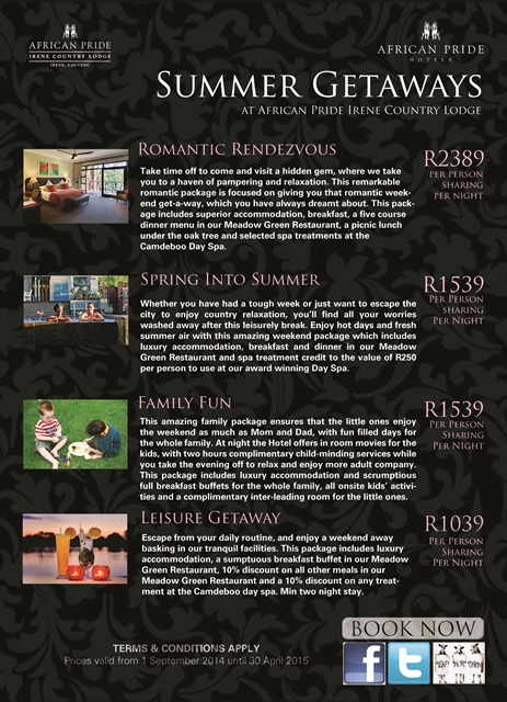 Accomodation Summer Promotions 2014